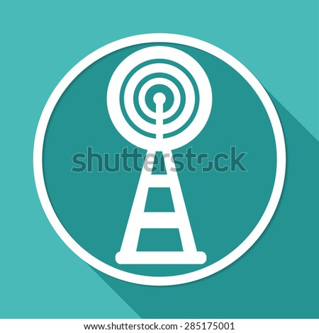Wireless Icon on white circle with a long shadow - stock vector