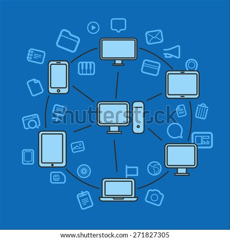 Wireless information fransfer across modern gadgets - stock vector