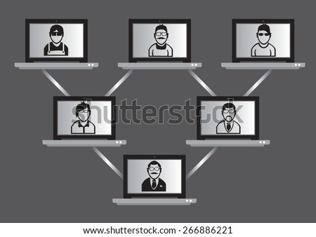 Wireless laptop computers with people on monitor screen linked in a hierarchical network. Conceptual vector illustration for high tech virtual meeting and networking technology. - stock vector