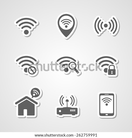 Wireless local network internet access point icons set - stock vector