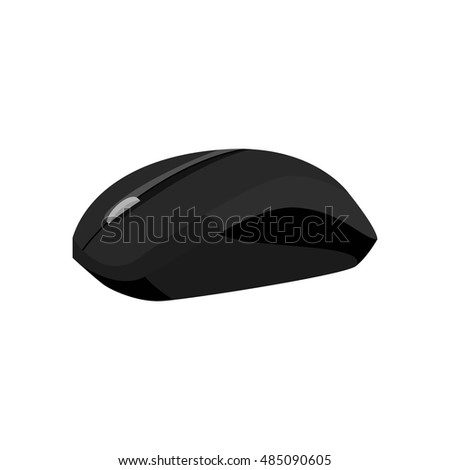 Wireless mouse icon in black monochrome style isolated on white background. Equipment symbol vector illustration