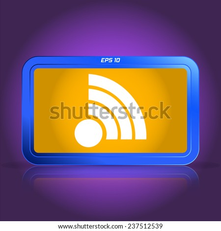 Wireless Network Icon. Specular reflection. Made vector illustration - stock vector