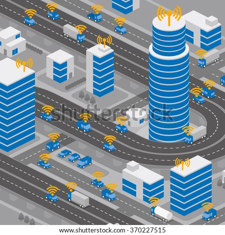 Wireless network of vehicle image illustration, Connected Car, Intelligent Car - stock vector