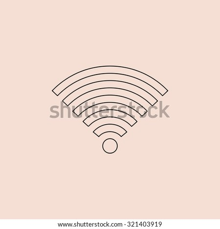 Wireless Network. Outline vector icon. Simple flat pictogram on pink background - stock vector