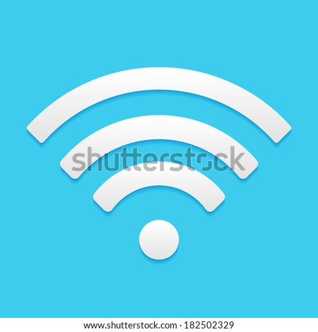Wireless Network Symbol, flat icon isolated on a blue background for your design, vector illustration - stock vector