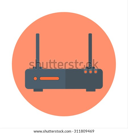 Wireless network theme, flat style, colorful, vector icon for info graphics, websites, mobile and print media. - stock vector