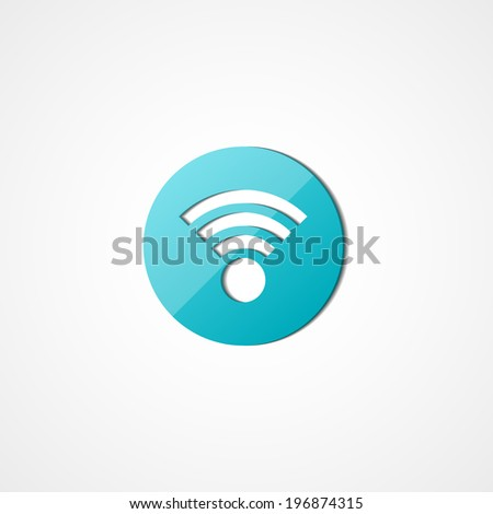 Wireless network web icon on white background - stock vector
