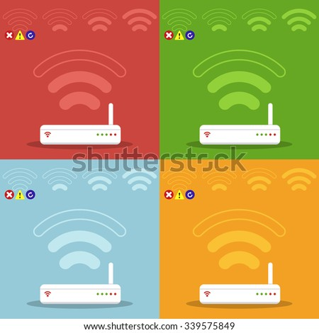 Wireless router and signal. Network router with wireless transmission. Signal strength indicators. Concept of communication, connection and technology. Vector illustration in flat design style.  - stock vector