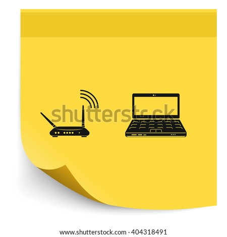Wireless router connected to laptop. - stock vector