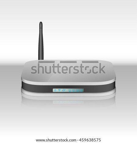 Wireless router isolated. Digital WiFi modem for wireless internet connection. ADSL Router  vector illustration. Modern Wireless router. - stock vector