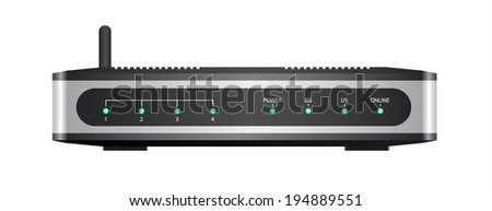 Wireless router isolated on white background with clipping path  - stock vector