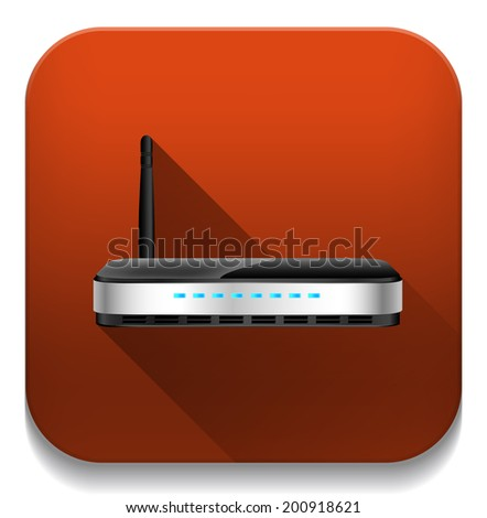 wireless router With long shadow over app button - stock vector