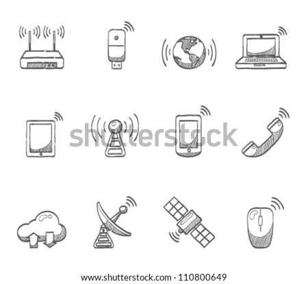 Wireless technology icon series in sketch - stock vector