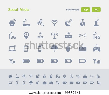 Wireless Technology Icons. Granite Icon Series. Simple glyph stile icons optimized for two sizes. - stock vector