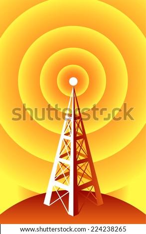 Wireless Technology radio tower. - stock vector
