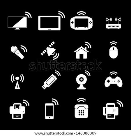 Wireless Technology - White - stock vector