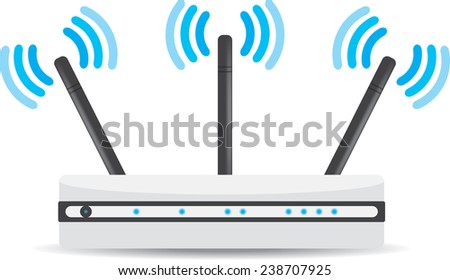 Wireless Wi-Fi router on white background. Vector illustration - stock vector