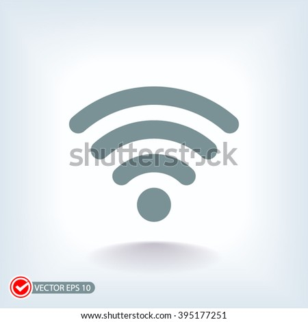 Wireless wifi icon on a blue background - stock vector
