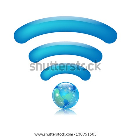 Wireless world wifi symbol illustration. - stock vector