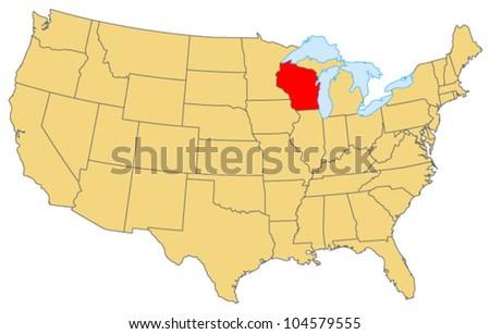 Wisconsin Locate Map - stock vector