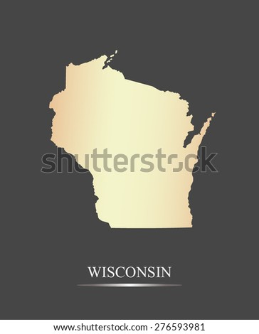 Wisconsin map outlines in an abstract grey background, a black and white map of State of Wisconsin in USA - stock vector