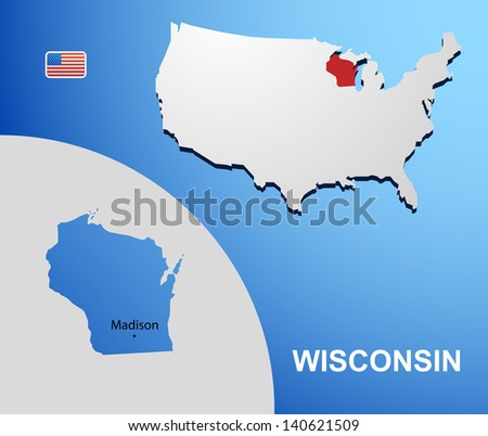 Wisconsin on USA map with map of the state