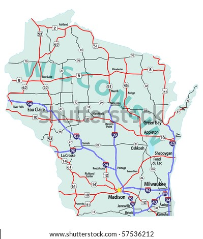 Wisconsin Map Stock Images RoyaltyFree Images Vectors - Wi road map