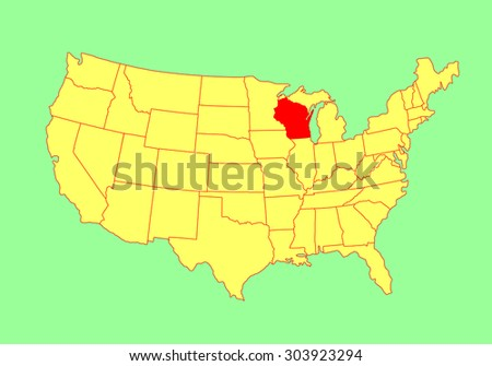 Wisconsin State USA Vector Map Isolated Stock Vector 303923294 ...