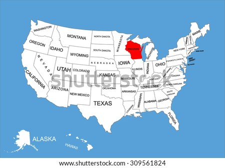 wisconsin state usa vector map isolated on united states map editable blank vector
