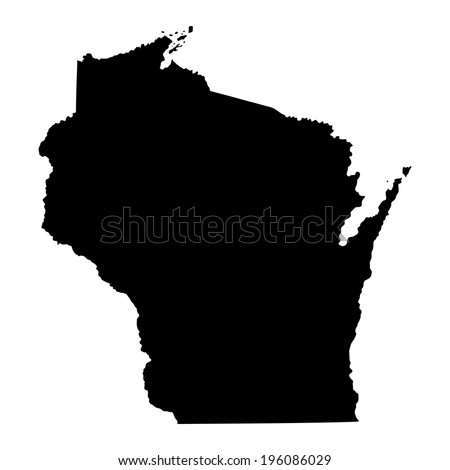 Wisconsin  State vector map isolated on white background. High detailed silhouette illustration.  - stock vector