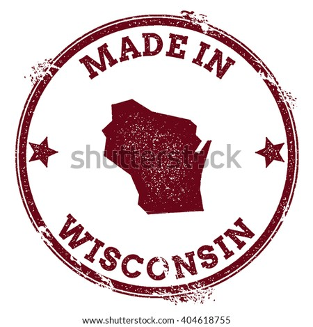 Wisconsin vector seal. Vintage USA state map stamp. Grunge rubber stamp with Made in Wisconsin text and USA state map, vector illustration. - stock vector