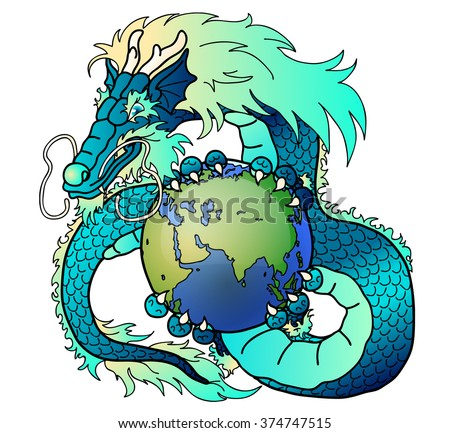 Wise blue water asian dragon holds in hand the earth against clouds - stock vector