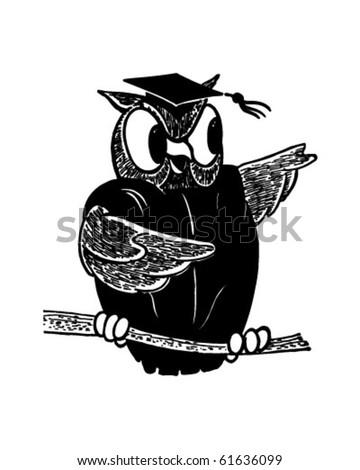 Wise Old Owl - Retro Clip Art - stock vector