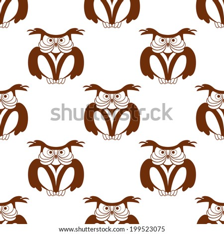 Wise old owl seamless background pattern in a brown and white vector design with repeat motifs - stock vector