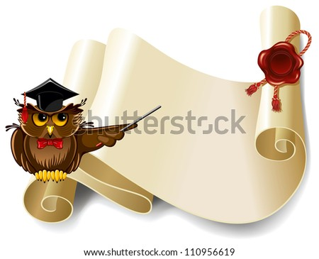 Wise owl and roll of old paper - stock vector