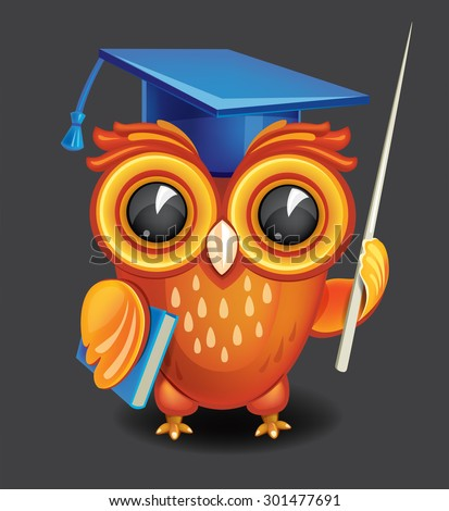 Wise owl in graduation cap - stock vector