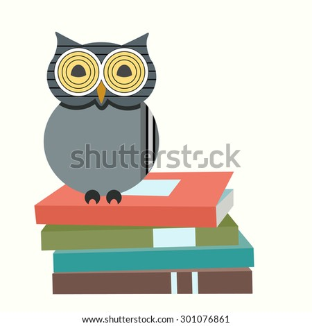 Wise owl on stack of books  - stock vector