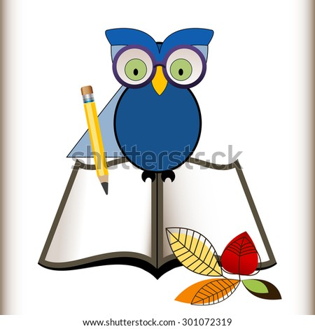 Wise owl with an open book, pencil and fall leaves,  back to school concept  - stock vector
