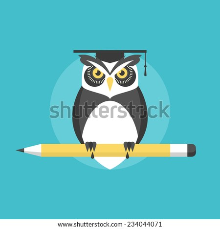 Wise owl with pencil, university graduation concept, knowledge and wisdom metaphor. Flat icon modern design style vector illustration concept. - stock vector