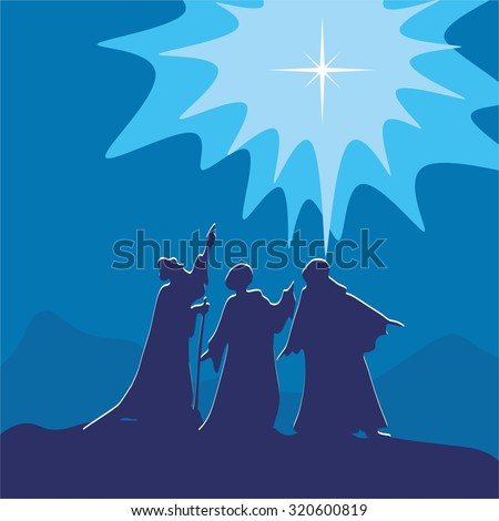 Wisemen pointing to the star of Bethlehem