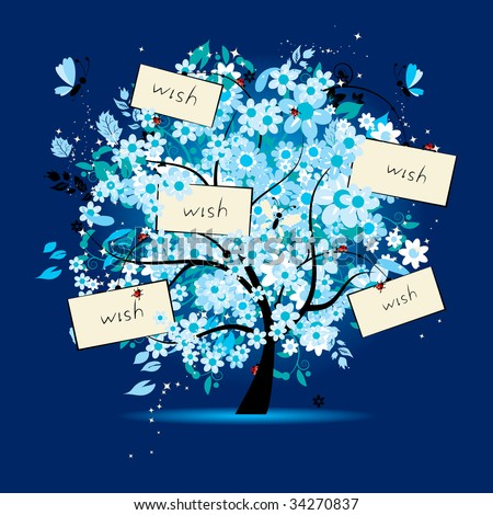 Wish tree floral with cards for your text - stock vector