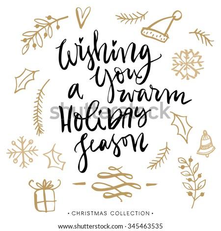 Wishing you warm holiday season christmas stock vector royalty free wishing you a warm holiday season christmas greeting card with calligraphy handwritten modern brush m4hsunfo