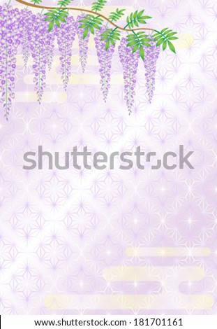 Wisteria flowers on Japanese traditional pattern - stock vector