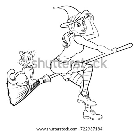 Witch And Cat Halloween Friendly Cartoon Characters Flying On A Broomstick