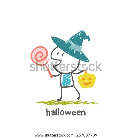 witch and pumpkin with candy on Halloween, illustration - stock vector