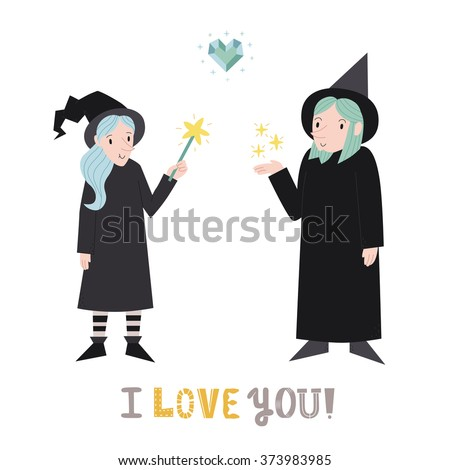 Witch and wizard cute couple with heart vector illustration. I love you! greeting card.