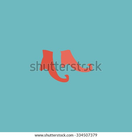 Witch boots. Colorful vector icon. Simple retro color modern illustration pictogram. Collection concept symbol for infographic project and logo - stock vector