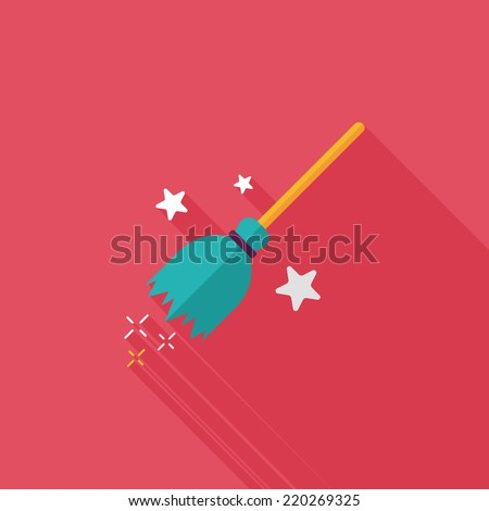 Witch broom flat icon with long shadow,eps10 - stock vector