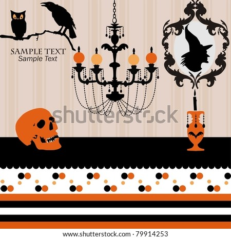 Witch castle,Spooky castle with Jack O'Lanterns chandelier, owl, and skull with witch portrait, detailed background. - stock vector