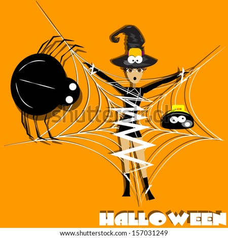 Witch caught in a web of a giant spider. - stock vector